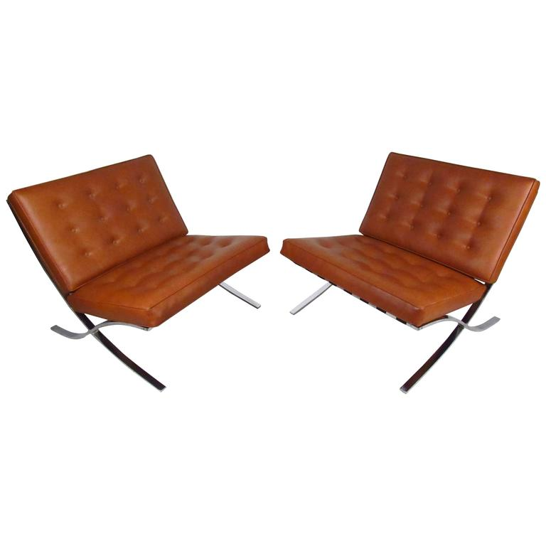 Pair of Mid-Century Modern Barcelona Chairs in the Style of Mies Van Der Rohe