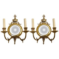 Pair of English Bronze Two-Arm Sconces with Convex Mirrors