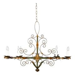 French Forged Iron Chandelier, circa 1940s
