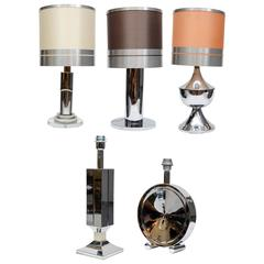 Eclectic Set of Five Different Stainless Steel Lamps with Original Shades