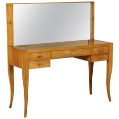 Dressing Table with Mirror Solid Wood Exotic Wood Veneer, Italy, 1940s-1950s