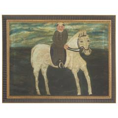 Folky Continental Oil Painting on Canvas of a White Horse and Rider