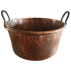 Large French Hand-Hammered Copper and Iron Bin