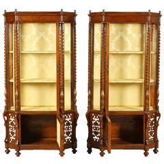 Pair of Important 19th Century Louis Philippe Walnut Vetrines