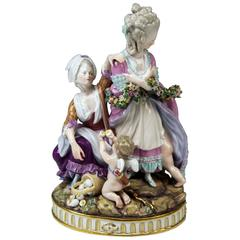 Meissen Tall Figurines Group, the Broken Eggs by Acier Model F65, circa 1870