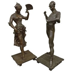 Pair of Bronze Statues by P. Dubois