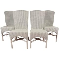 Four Vintage Lloyd Loom Wicker Dining Chairs