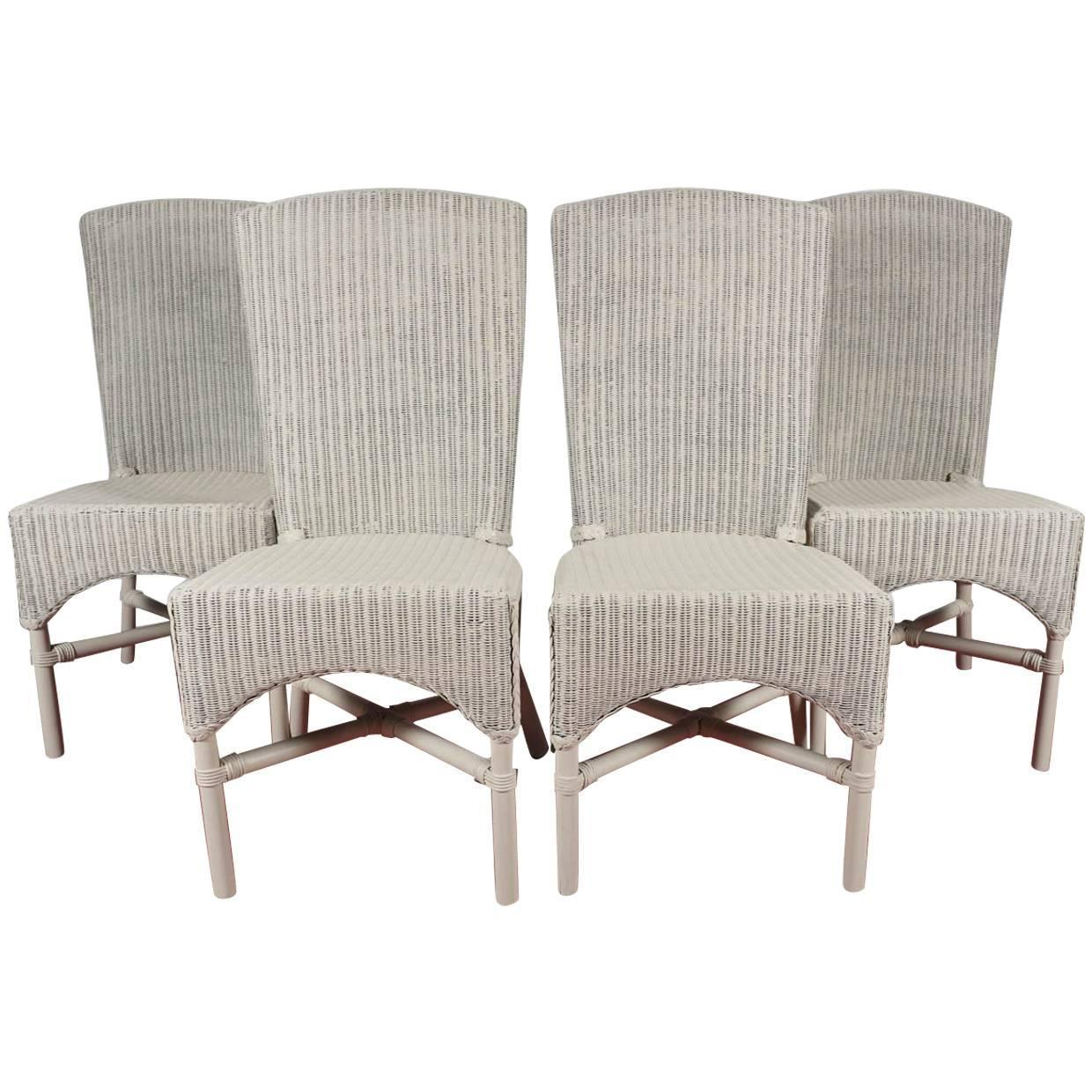 Beau Six Vintage Lloyd Loom Wicker Dining Chairs At 1stdibs