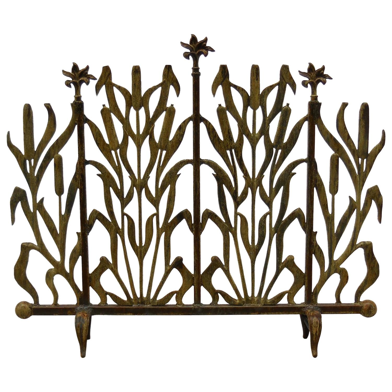 Cat Tail Iron Fireplace Screen For Sale At 1stdibs