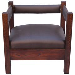 Antique Arts and Crafts Mission Cube Chair