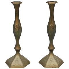 Large Pair of Antique Brass Candlesticks