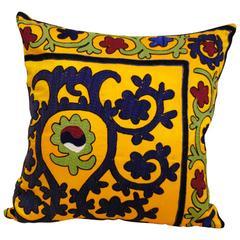 Hand Embroidered Vintage Uzbekistan Pillow