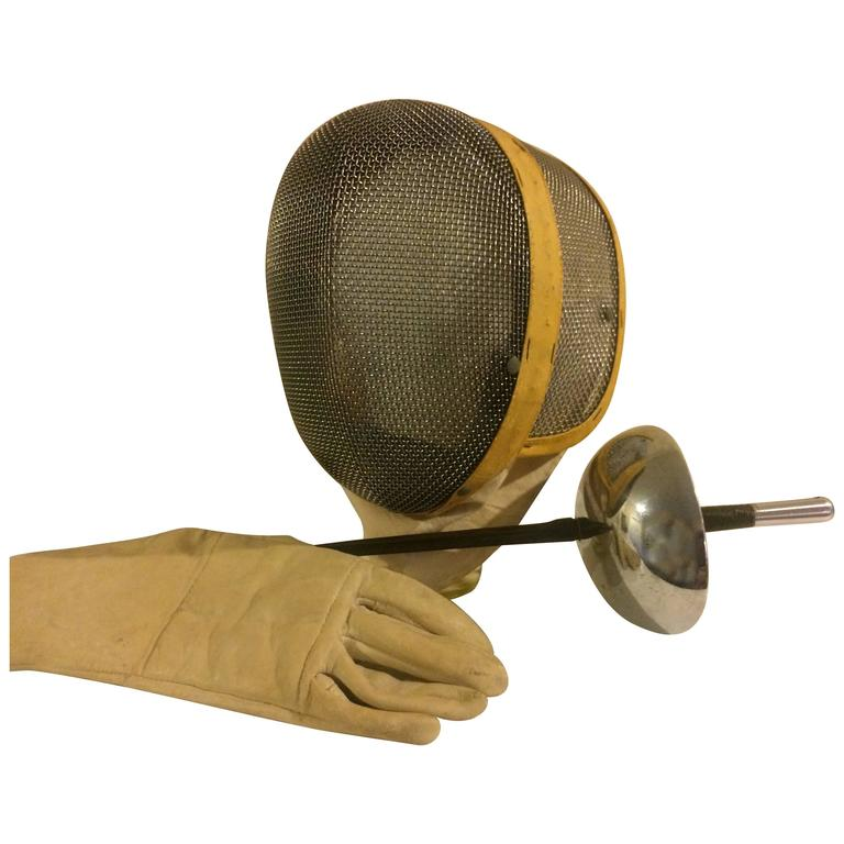 Vintage Castello Fencing Mask, Leather Glove and Foil