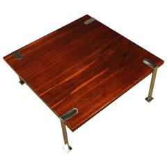 1960s coffee table, mahogany, rosewood, steel - Italy