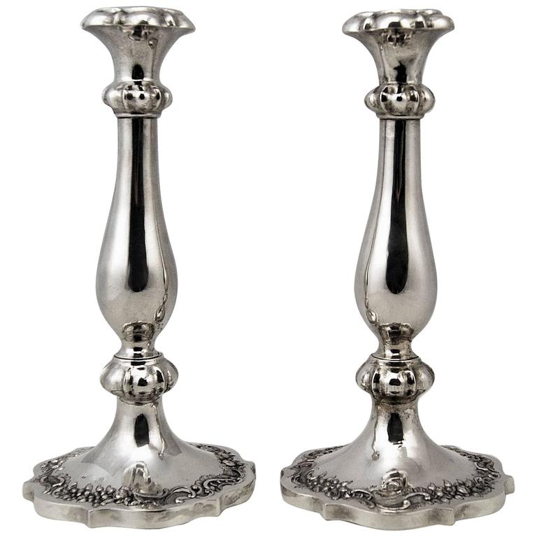 Silver 13 Lot Austrian Nicest Biedermeier Pair of Candlesticks, Vienna Made 1846 For Sale