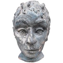 20th Century Clay Bust of a Young Man with Curls