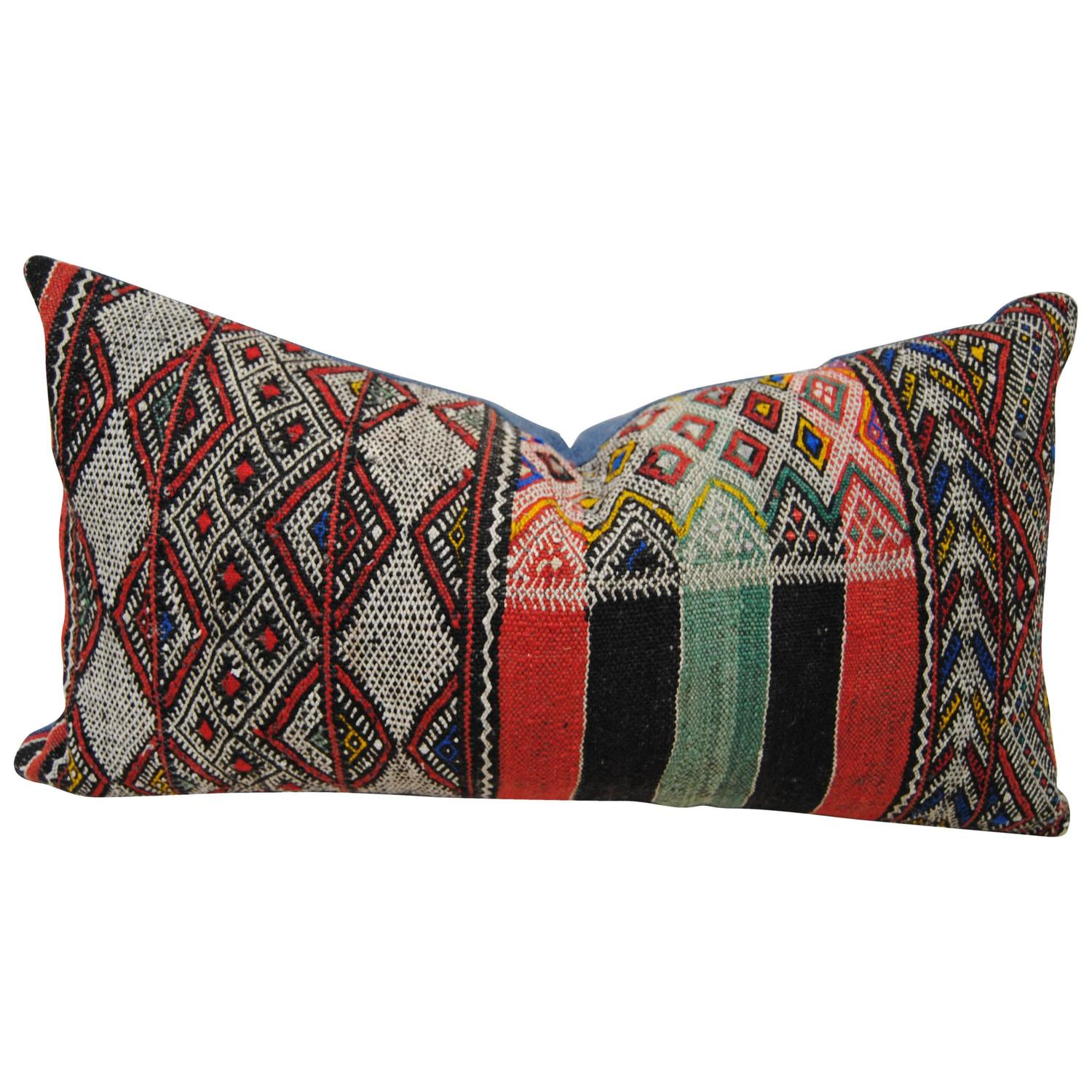 Custom Pillow Cut From A Moroccan Hand Loomed Wool Rug