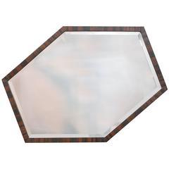 European Art Deco Wall Mirror of Optically Illusory Hexagonal Form