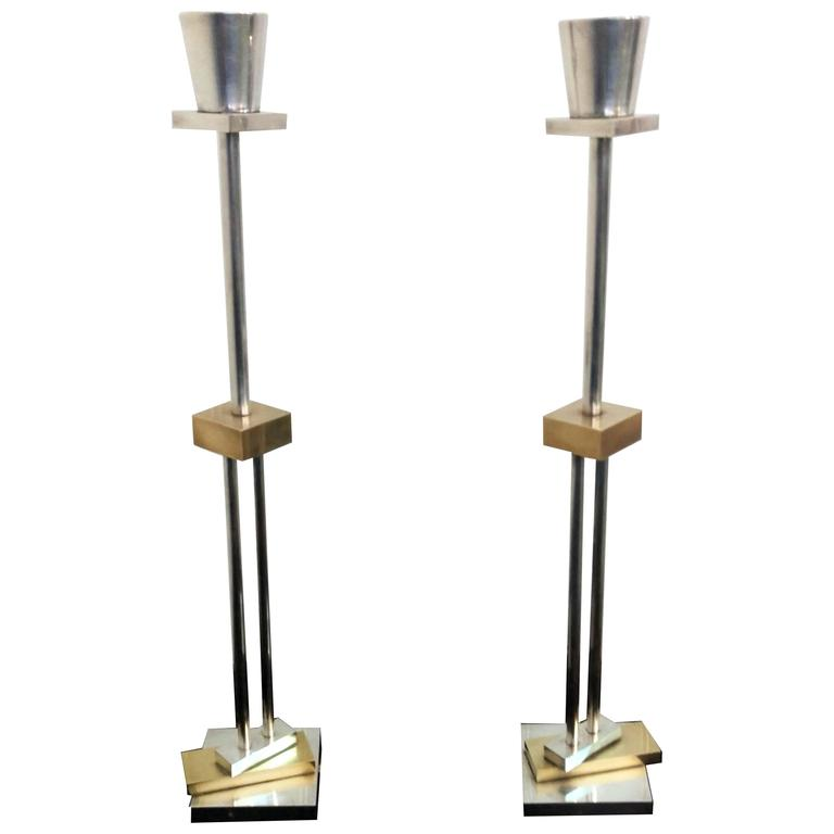 Pair of Architectural Candlesticks by Ettore Sottsass for Swid Powell, La Porte