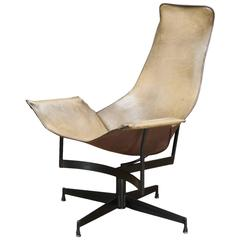Katavolos Swivel Leather Sling Lounge Chair