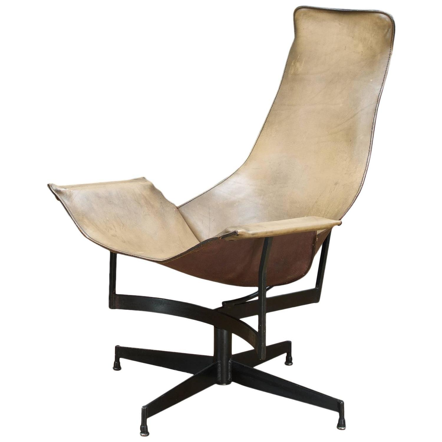 Leathercrafters NYC Swivel K Leather Sling Lounge Chair at 1stdibs