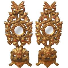 Carved Tall Pair of Colorful Giltwood Reliquaries or Appliques