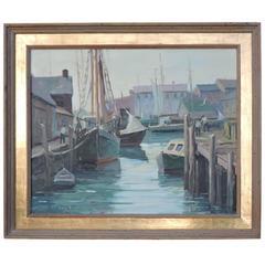 1940s Cape Ann Rockport Harbor Scene Oil Painting by George Dinckel