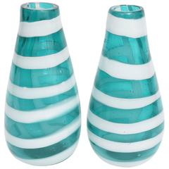 Pair of Murano Striped Glass Vases, Fulvio Bianconi for Cenedese, Italy, 1958