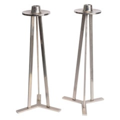 Pair of Large 1970s Chrome Tripod Candle Torcheres