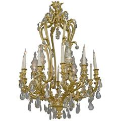 Louis XV Style Rock Crystal and Gilt-Bronze Chandelier, circa 1850