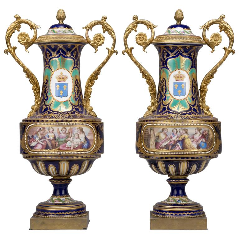 Pair Of Sèvres Style Porcelain Vases And Covers At 1stdibs