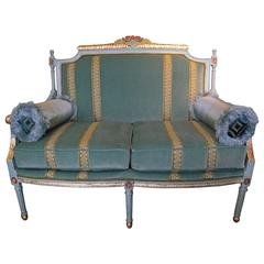 Georgian Style Settee with Gold Leaf Accents