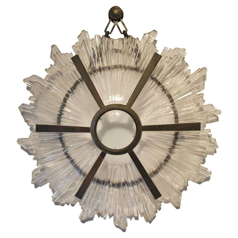 Stunning French Art Deco Sunburst Sconce / Applique in Bronze and Glass