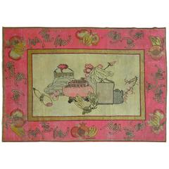 Antique Pictorial Khotan Rug with Bright Pink Border