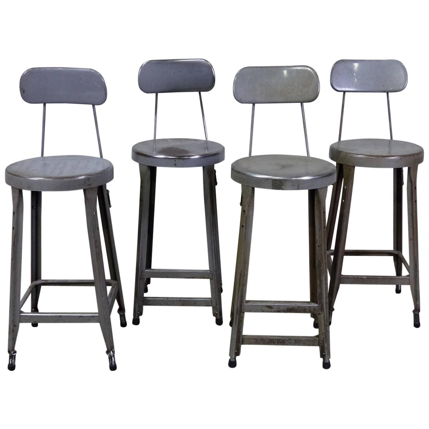 Set Of Four Counter Height Industrial Stools At 1stdibs