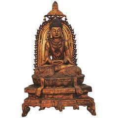 Beautiful 19th Century Hand-Carved Sino Tibetan Lacquered Wood Buddha