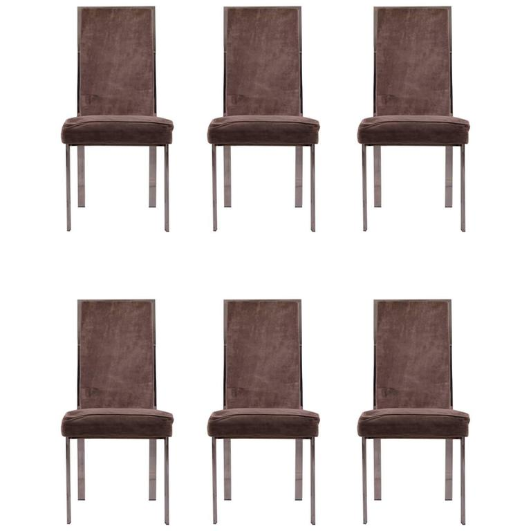 Superieur Set Of Six Chrome Frame High Back Dining Chairs Attributed To Milo Baughman
