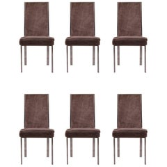 Set of Six Chrome Frame High Back Dining Chairs attributed to Milo Baughman