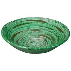 Circular Mid-Century Green and Gray Ceramic Bowl