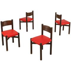 Charlotte Perriand Set of Four Courchevel Chairs with Red Leather, France, 1960s