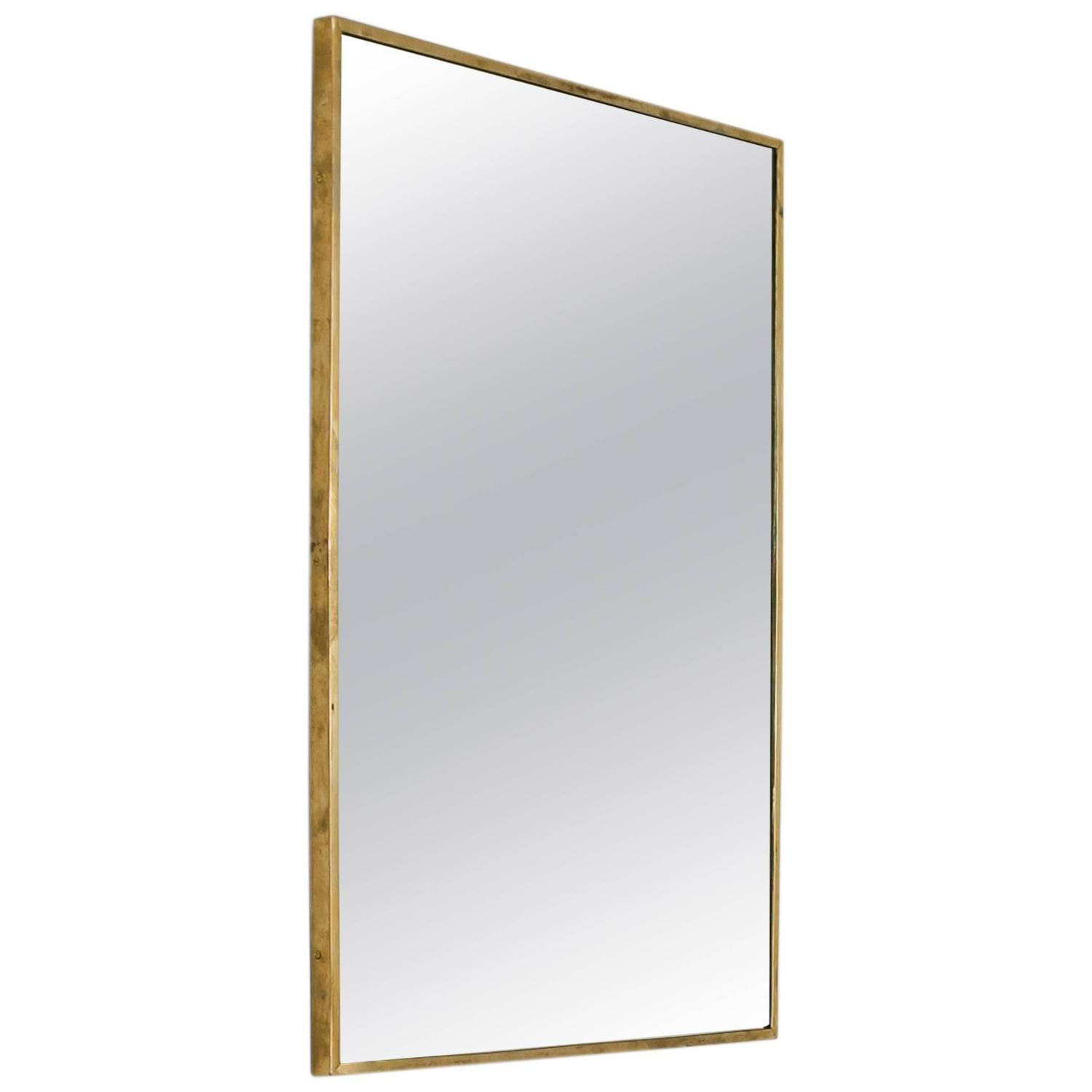 Rectangular Wall Mirror large rectangular brass wall mirror, italy, 1950s for sale at 1stdibs