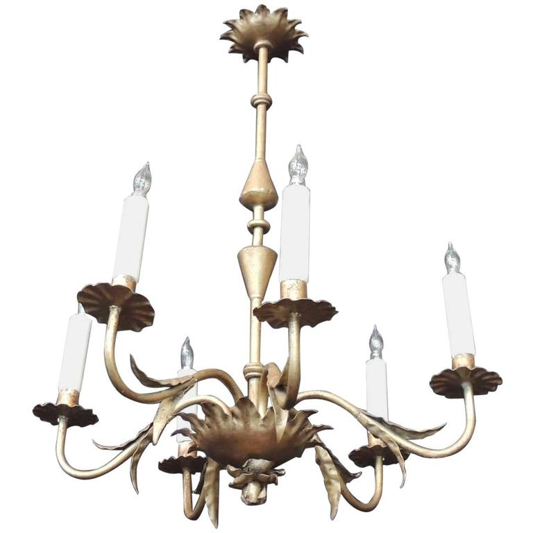 Early 20th C Barcelona Tole and Iron Chandelier