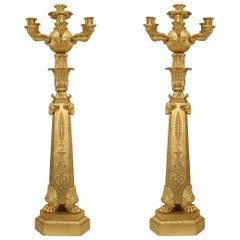 Pair of French Empire Bronze Dore Ram Head Candelabras