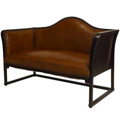 Austrian Secessionist Beechwood and Leather Loveseat by Jacob & Josef Kohn