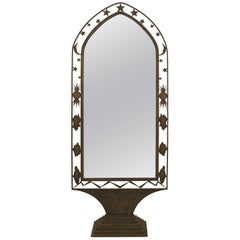 French Art Deco Wrought Iron Cheval Mirror