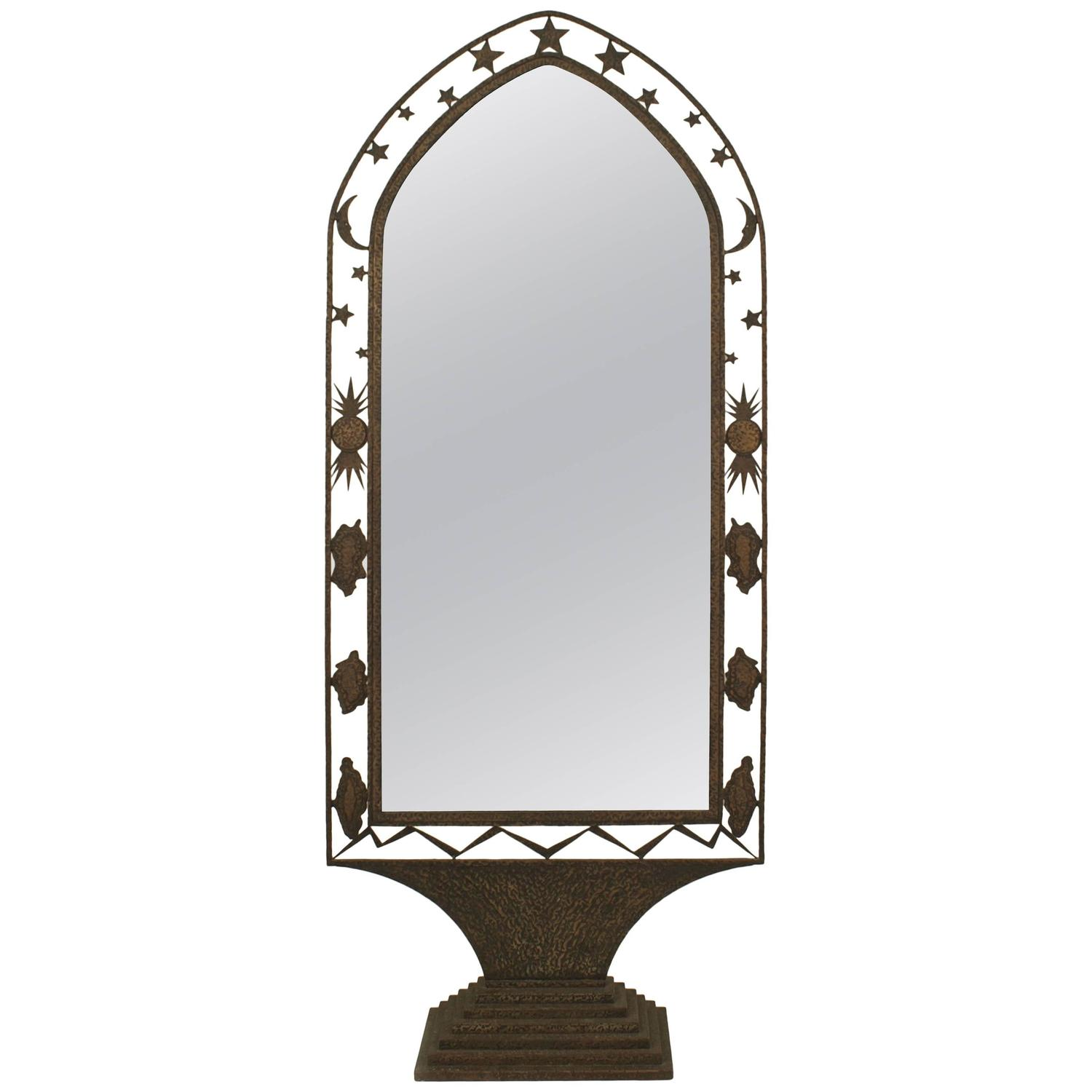 French art deco wrought iron cheval mirror for sale at 1stdibs for Floor length mirror for sale