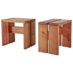 Charlotte Perriand Pair of Rectangular Pine Stools, France, 1960s