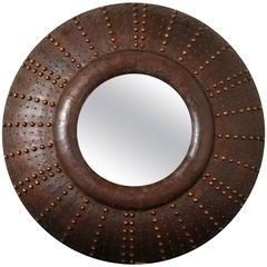 Large Leather Mirror with Brass Studs, French, circa 1960