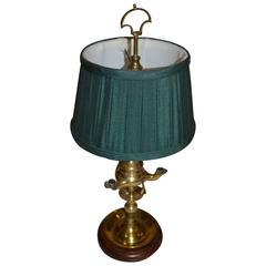 Small Brass Gas Lamp Converted to Electricy