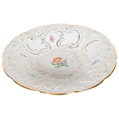 Exquisite Classical Relief-Form Porcelain Bowl with Floral Design by Meissen